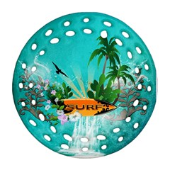 Surfboard With Palm And Flowers Round Filigree Ornament (2Side)