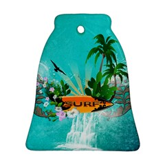 Surfboard With Palm And Flowers Bell Ornament (2 Sides)