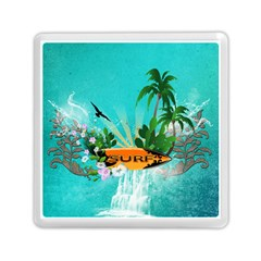 Surfboard With Palm And Flowers Memory Card Reader (Square)