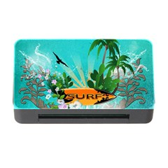 Surfboard With Palm And Flowers Memory Card Reader with CF