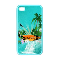 Surfboard With Palm And Flowers Apple iPhone 4 Case (Color)