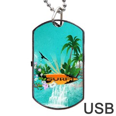 Surfboard With Palm And Flowers Dog Tag Usb Flash (one Side)