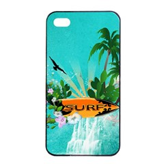 Surfboard With Palm And Flowers Apple iPhone 4/4s Seamless Case (Black)