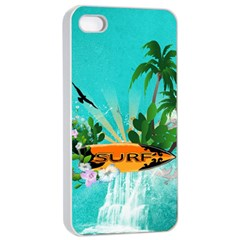 Surfboard With Palm And Flowers Apple iPhone 4/4s Seamless Case (White)