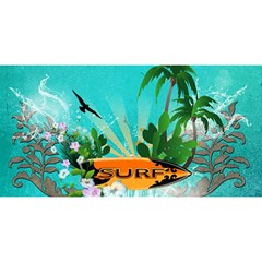Surfboard With Palm And Flowers YOU ARE INVITED 3D Greeting Card (8x4)