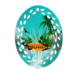 Surfboard With Palm And Flowers Ornament (Oval Filigree)