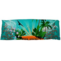 Surfboard With Palm And Flowers Body Pillow Cases Dakimakura (Two Sides)