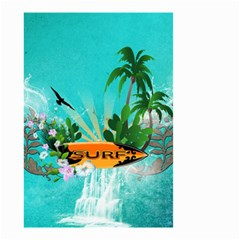 Surfboard With Palm And Flowers Small Garden Flag (Two Sides)