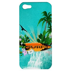 Surfboard With Palm And Flowers Apple iPhone 5 Hardshell Case