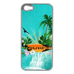 Surfboard With Palm And Flowers Apple iPhone 5 Case (Silver)