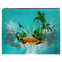 Surfboard With Palm And Flowers Cosmetic Bag (XXXL)