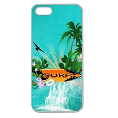 Surfboard With Palm And Flowers Apple Seamless iPhone 5 Case (Clear)
