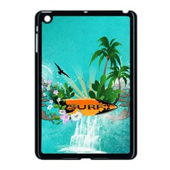 Surfboard With Palm And Flowers Apple iPad Mini Case (Black)