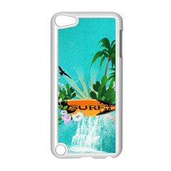 Surfboard With Palm And Flowers Apple iPod Touch 5 Case (White)