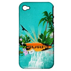 Surfboard With Palm And Flowers Apple iPhone 4/4S Hardshell Case (PC+Silicone)
