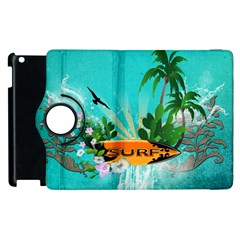 Surfboard With Palm And Flowers Apple iPad 2 Flip 360 Case