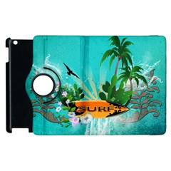 Surfboard With Palm And Flowers Apple iPad 3/4 Flip 360 Case