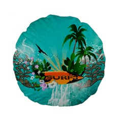 Surfboard With Palm And Flowers Standard 15  Premium Round Cushions