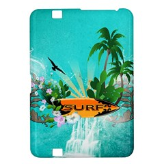 Surfboard With Palm And Flowers Kindle Fire HD 8.9