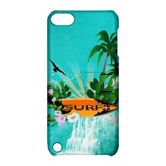 Surfboard With Palm And Flowers Apple iPod Touch 5 Hardshell Case with Stand