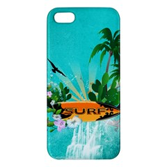 Surfboard With Palm And Flowers Apple iPhone 5 Premium Hardshell Case