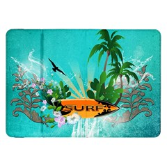 Surfboard With Palm And Flowers Samsung Galaxy Tab 8.9  P7300 Flip Case