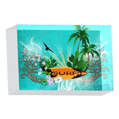 Surfboard With Palm And Flowers 4 x 6  Acrylic Photo Blocks