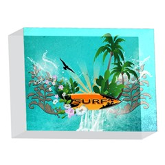 Surfboard With Palm And Flowers 5 x 7  Acrylic Photo Blocks