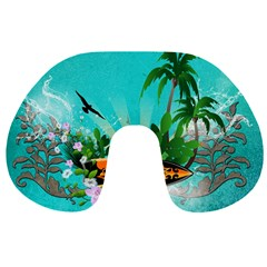 Surfboard With Palm And Flowers Travel Neck Pillows