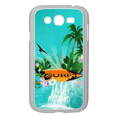 Surfboard With Palm And Flowers Samsung Galaxy Grand DUOS I9082 Case (White)