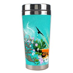 Surfboard With Palm And Flowers Stainless Steel Travel Tumblers