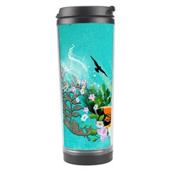 Surfboard With Palm And Flowers Travel Tumblers