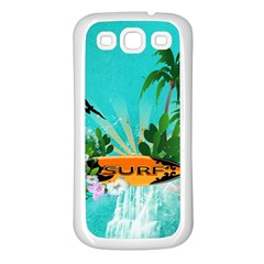Surfboard With Palm And Flowers Samsung Galaxy S3 Back Case (White)