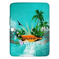 Surfboard With Palm And Flowers Samsung Galaxy Tab 3 (10.1 ) P5200 Hardshell Case