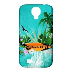 Surfboard With Palm And Flowers Samsung Galaxy S4 Classic Hardshell Case (PC+Silicone)