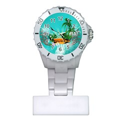Surfboard With Palm And Flowers Nurses Watches