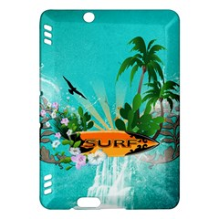 Surfboard With Palm And Flowers Kindle Fire HDX Hardshell Case