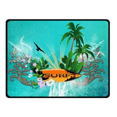 Surfboard With Palm And Flowers Double Sided Fleece Blanket (small)