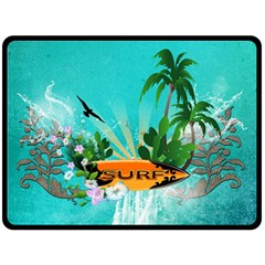 Surfboard With Palm And Flowers Double Sided Fleece Blanket (Large)