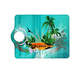 Surfboard With Palm And Flowers Kindle Fire HD (2013) Flip 360 Case