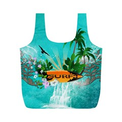 Surfboard With Palm And Flowers Full Print Recycle Bags (m)