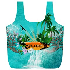 Surfboard With Palm And Flowers Full Print Recycle Bags (L)