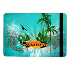 Surfboard With Palm And Flowers Samsung Galaxy Tab Pro 10 1  Flip Case