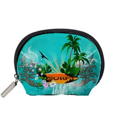 Surfboard With Palm And Flowers Accessory Pouches (small)