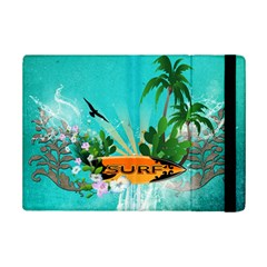 Surfboard With Palm And Flowers Ipad Mini 2 Flip Cases