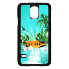 Surfboard With Palm And Flowers Samsung Galaxy S5 Case (Black)