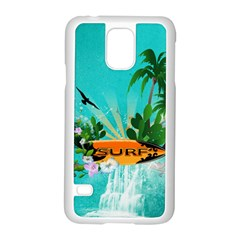 Surfboard With Palm And Flowers Samsung Galaxy S5 Case (White)