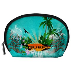 Surfboard With Palm And Flowers Accessory Pouches (Large)