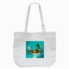 Surfboard With Palm And Flowers Tote Bag (White)