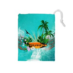 Surfboard With Palm And Flowers Drawstring Pouches (Medium)
